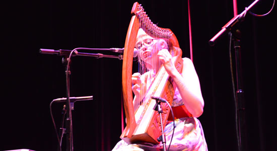 Abigail the Brave on harp.