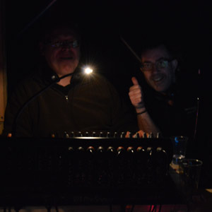 John and Stewart in the darkness of the wings, ready for take 1.
