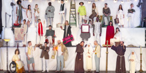 All of the cast in costume